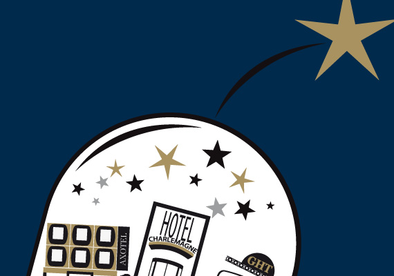 In Lyon, some stars shine brighter than others. Vectorial illustration for Axotel Group.
